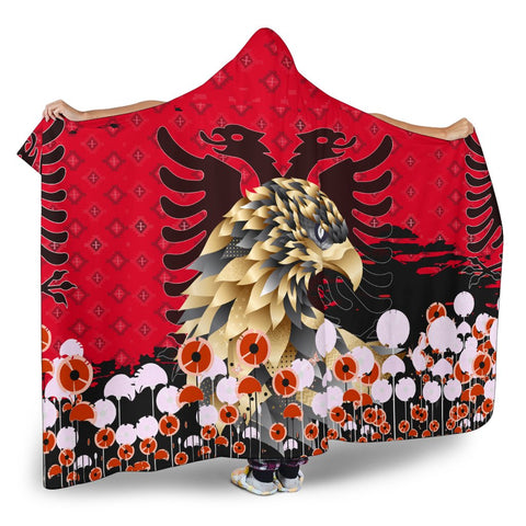 Happy Albania Independence Day Hooded Blanket - Albania Golden Eagle - BN21