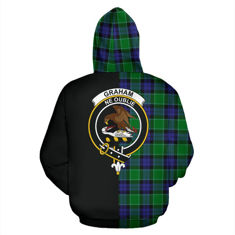 Graham of Menteith Modern Tartan Hoodie Half Of Me TH8