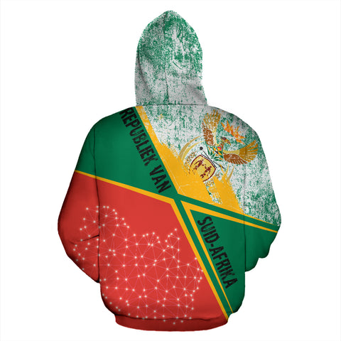 Image of SA Hoodie - X Style - Green Mix Red - Back - For Men and Women