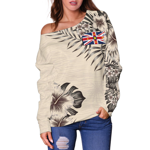 Image of Niue The Beige Hibiscus Off Shoulder Sweater A7