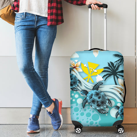 Image of Hawaii Luggage Covers - Blue Turtle Hibiscus A24