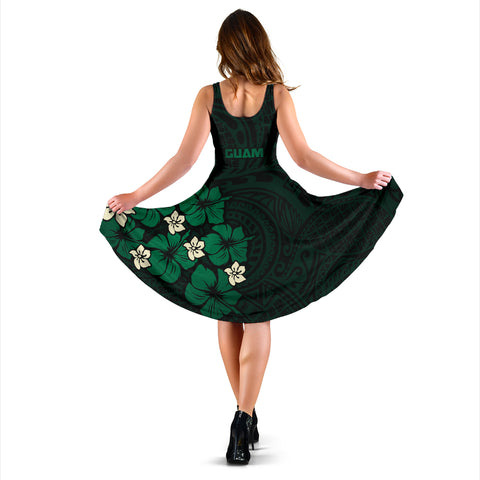 Guam Green Hibiscus Women's Dress A02