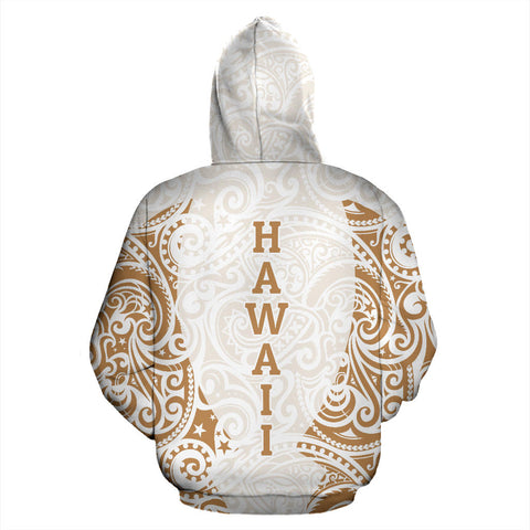 Hawaii Hoodie Polynesian Hibiscus White Gold TH2