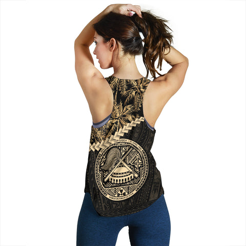 American Samoa Women's Racerback Tank Golden Coconut | Love The World