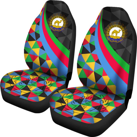 Eritrea Car Seat Covers  - Eritrea Coat Of Arms with Flag Color