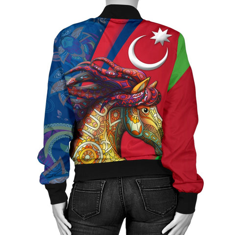 Azerbaijan Pride and Heritage Women's Bomber Jacket - Happy Independence Day - BN21