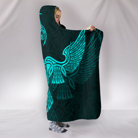 Vikings Raven and Odin's Horn Hooded Blanket A7