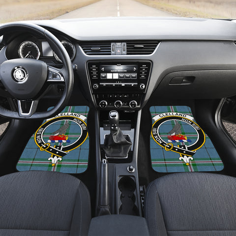 Clelland modern  Tartan Clan Badge Car Floor Mat 4 Pieces K7