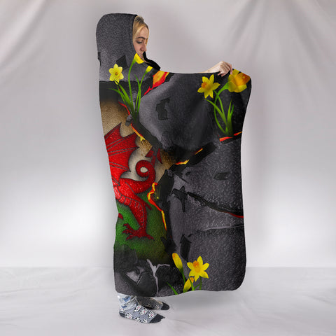 Wales Hooded Blanket - Welsh Dragon Daffodil Lava | Love The World