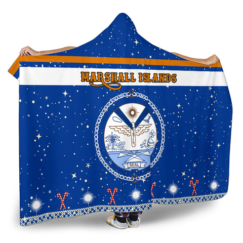 Marshall Islands Coat Of Arms Hooded Blanket - Blue - Christmas Style - J092