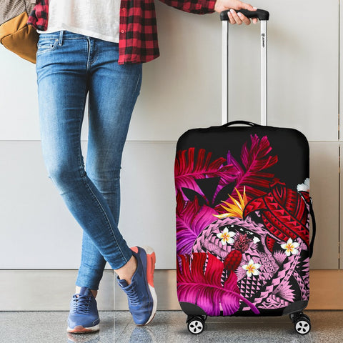 Kanaka Maoli (Hawaiian) Luggage Covers, Polynesian Pineapple Banana Leaves Turtle Tattoo Pink