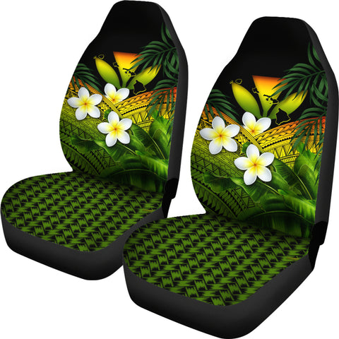 Kanaka Maoli (Hawaiian) Car Seat Covers, Polynesian Plumeria Banana Leaves Reggae