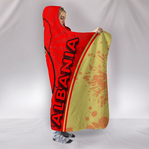 Image of Albania Hooded Blanket Circle Stripes Flag Version 1 | 1sttheworld
