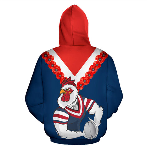 Image of Australia Roosters Zip Up Hoodie back