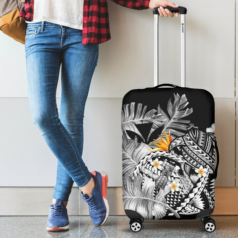 Kanaka Maoli (Hawaiian) Luggage Covers, Polynesian Pineapple Banana Leaves Turtle Tattoo Gray