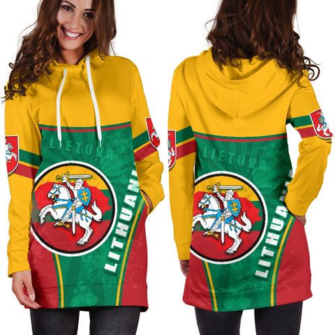 Lithuania - Lietuva Women Hoodie Dress Circle Stripes Flag Proud Version 1 | 1sttheworld