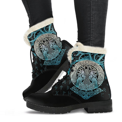 Viking Faux Fur Leather Boots Yggdrasil and Ravens A7