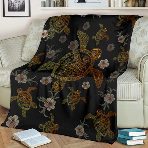 Image of Hawaiian Gold Turtle Premium Blanket A5