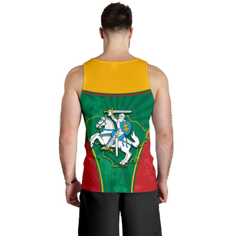 Lithuania - Lietuva Men Tank Top Circle Stripes Flag Proud Version Back | 1sttheworld