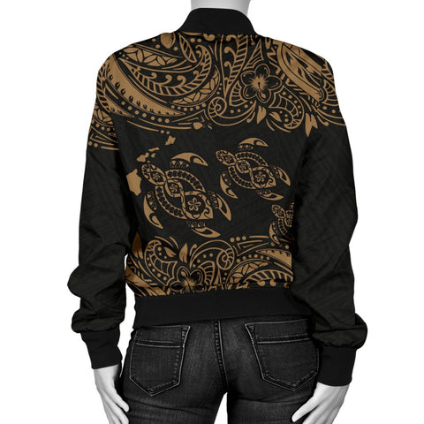 Image of Hawaii Polynesian Women's Bomber Jacket - Gold Sea Turtle - BN12