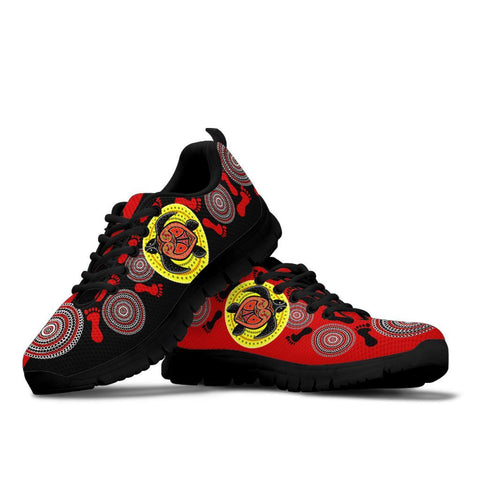 Australia Aboriginal Sneakers, Turtle Footprint Circle Dot Painting Ver 04