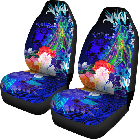 Tonga Car Seat Cover - Humpback Whale with Tropical Flowers (Blue)