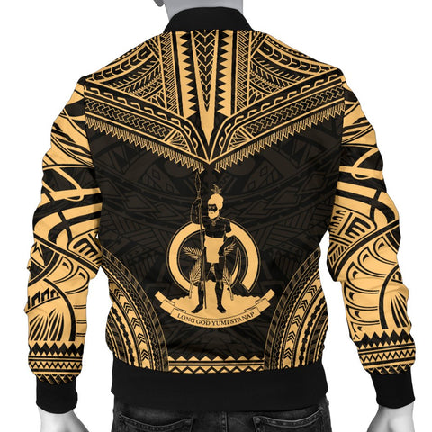 Image of Vanuatu Polynesian Chief Men's Bomber Jacket - Gold Version