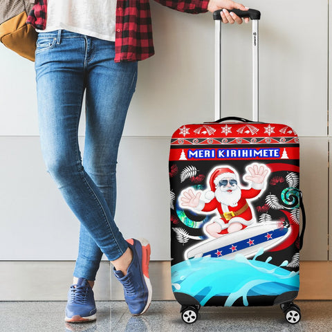 New Zealand Santa Christmas Luggage Covers Pohutukawa Fern And Kiwi 1 | 1sttheworld.com