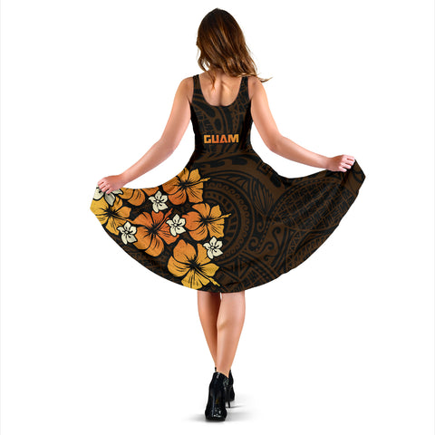 Guam Tangerine Hibiscus Women's Dress A02