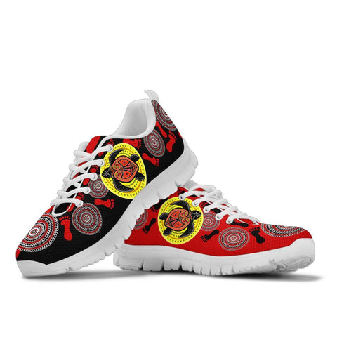 Australia Aboriginal Sneakers, Turtle Footprint Circle Dot Painting Ver 08