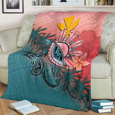 Kanaka Maoli (Hawaiian) Premium Blanket - Polynesian Turtle and Sun | JUST FOR YOUR LOVE | Love The World