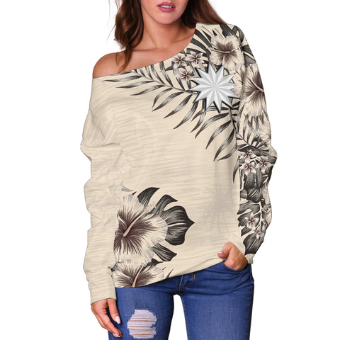 Nauru 2 The Beige Hibiscus Off Shoulder Sweater A7