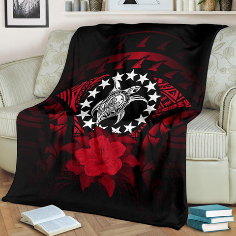 Cook Islands Premium Blanket - Red Hibiscus A02