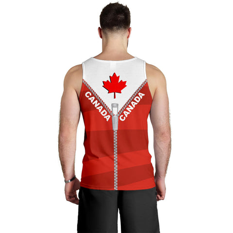 Canada Men Tank Top With Straight Zipper Style Red K52