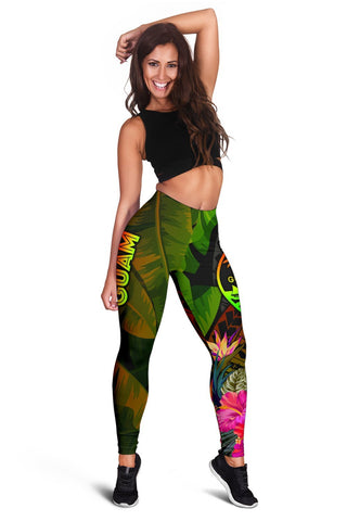 Image of Guam Polynesian Women's Leggings -  Hibiscus and Banana Leaves