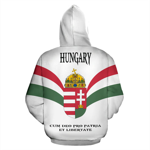 Wings of Hungary Zip Up Hoodie - Red mix White and Green color - Back - For Men and Women