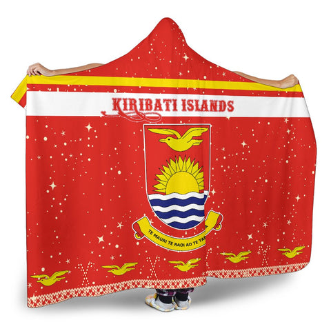 Kiribati Coat Of Arms Hooded Blanket - Red - Christmas Style - J092