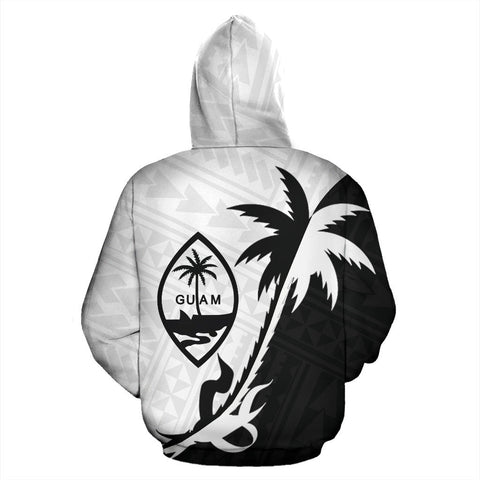Guam Coconut Tree Zip Up Hoodie Black White K4