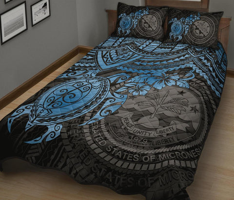 Federated States Of Micronesia Quilt Bed Set - Blue Turtle