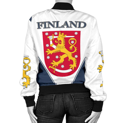 Image of Finland Hockey Bomber Jacket - Hockey Lion (Women) | Love The World