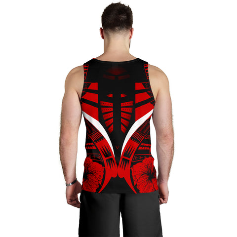 Image of Polynesian Tattoo Men Tank Top Hibiscus Red 2
