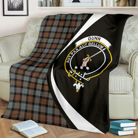 Image of Gunn Weathered Tartan Clan Crest Premium Blanket Hj4