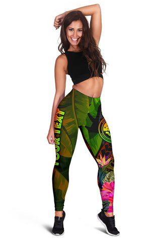 Federated States of Micronesia Polynesian Personalised Leggings -  Hibiscus and Banana Leaves