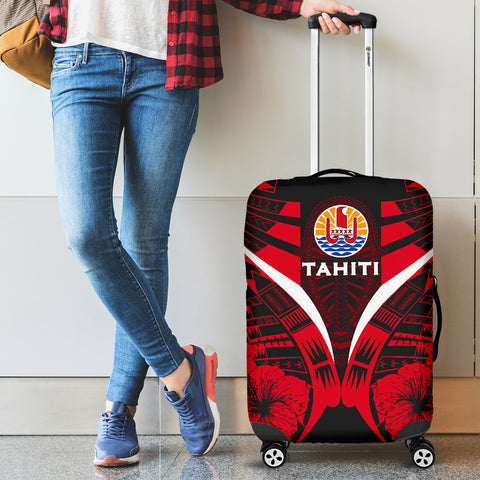 Tahiti Tattoo Luggage Covers Hibiscus - Red Color 2