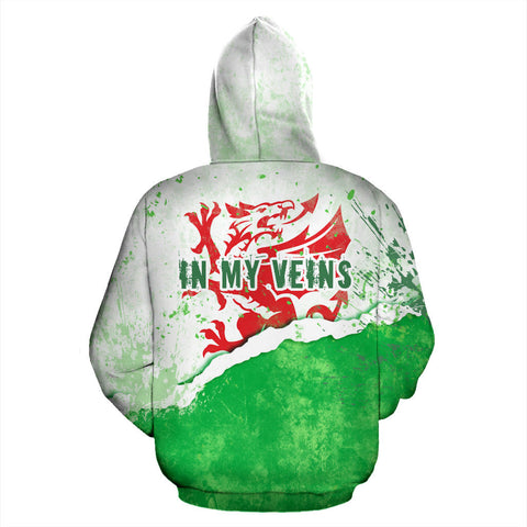 Welsh Dragon Scratch Hoodie - Back for Men and Women