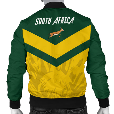 Image of 1stTheWorld South Africa Bomber Jacket - South African Rising King Protea Men Yellow A10