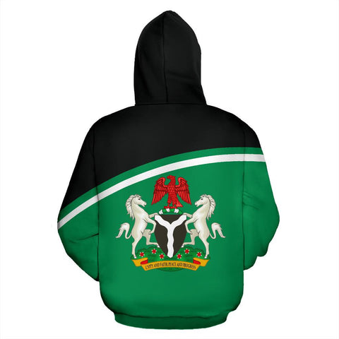 Nigeria All Over Zip-Up Hoodie - Curve Style - BN09