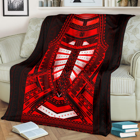 Polynesian Style Tattoo Premium Blanket Red A7