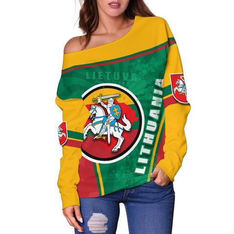Lithuania - Lietuva Off Shoulder Sweater Circle Stripes Flag Proud Version Back | 1sttheworld