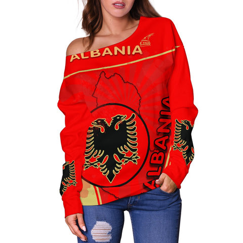 Albania Women Off Shoulder Sweater Circle Stripes Flag Version 1 | 1sttheworld